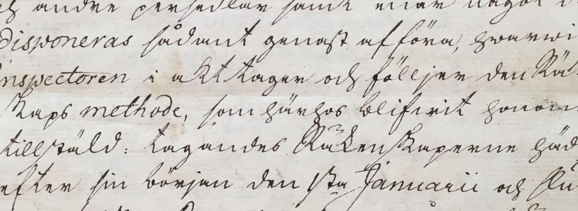 Utsnitt ur instruktion från 1779 med gammaldags skrivstil.