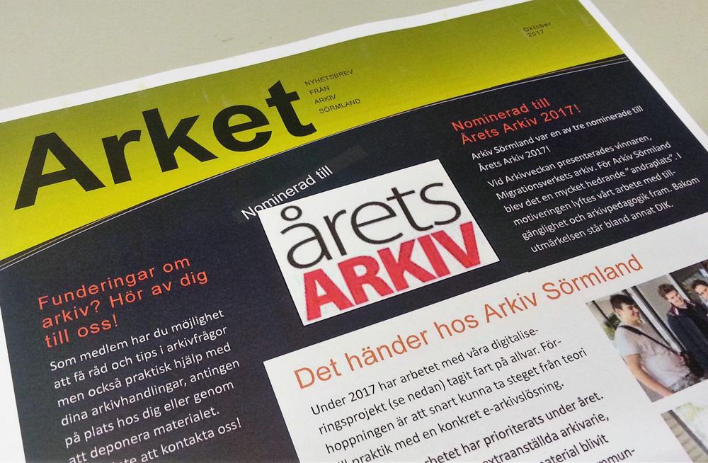 Ett exempel på medlemsbladet Arket. Foto H Karlsson