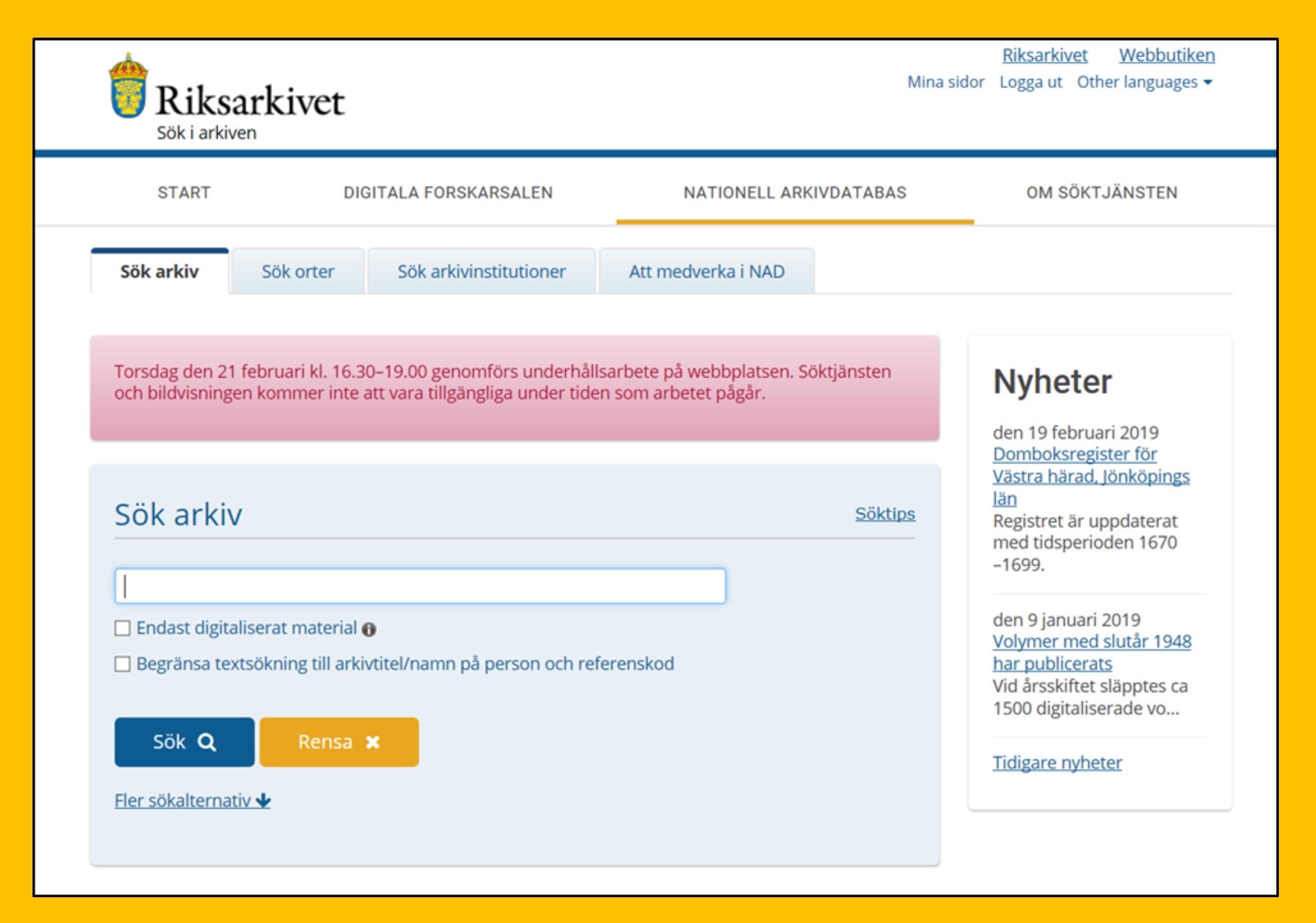 Bild som visar hur Nationella Arkivdatabasen på Riksarkivets webbplats.