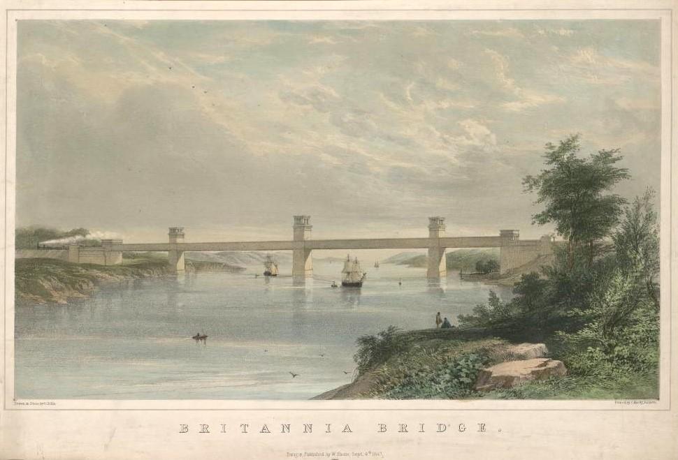 Bild över Britannia Bridge av George Childs / National Library of Wales