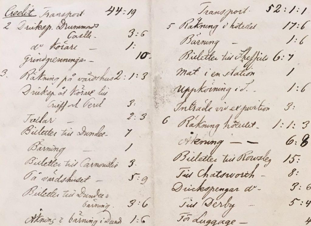 Noggranna anteckningar om varje utgift under resan. Celsingska blå arkivet, Arkiv Sörmland