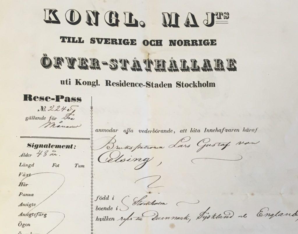 Pass gällande för tre månaders utlandsvistelse 1852. Celsingska blå arkivet, Arkiv Sörmland