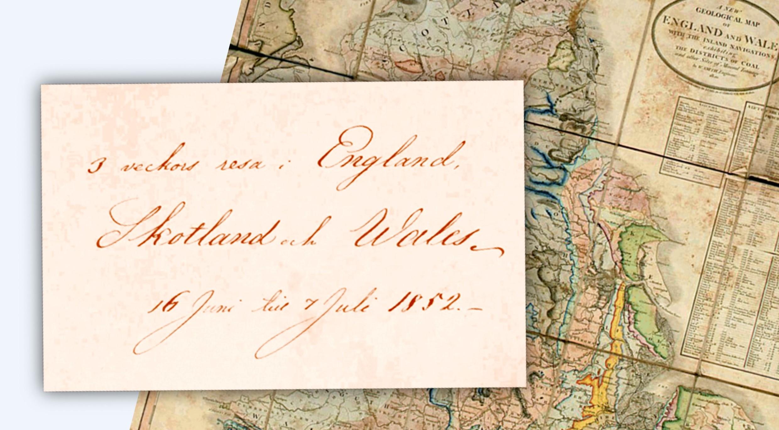 Karta över England-Wales med text från resedagboken 1852. Celsingska blå arkivet, Arkiv Sörmland