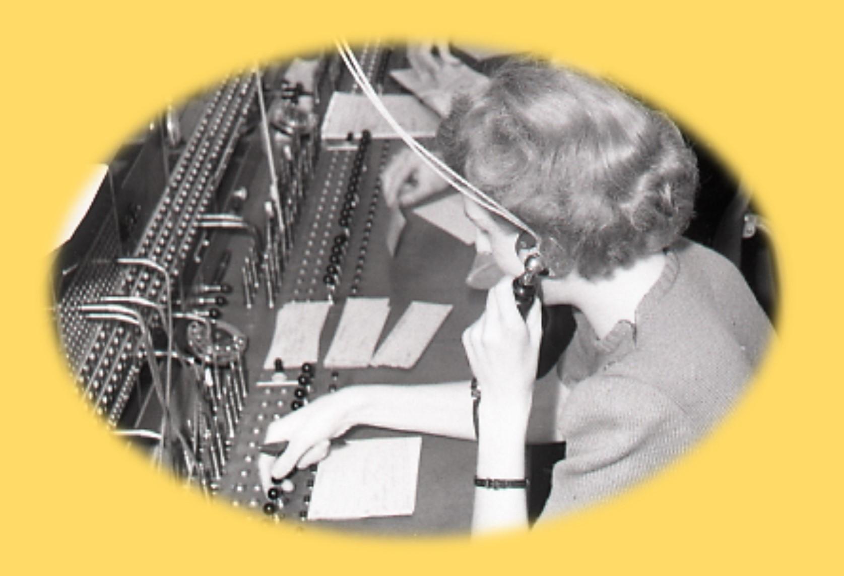 Bild från BM:s telefonväxel 1950-tal. Foto: okänd. AB Bolinder-Munktells arkiv, Arkiv Sörmland
