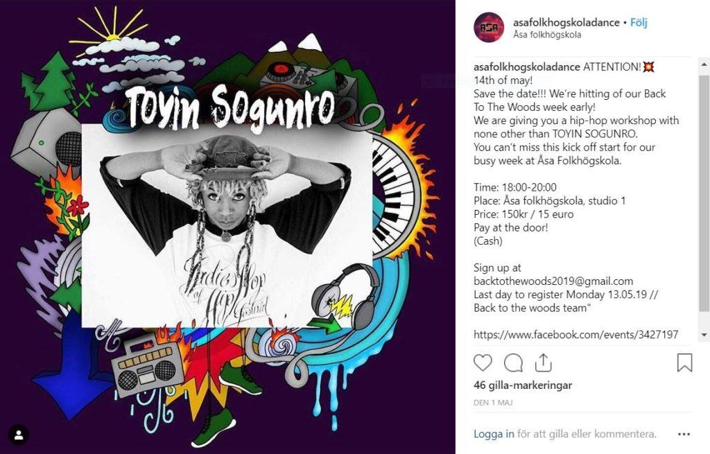 Bild insamlad från Åsa Folkhögskolas Streetdance's Instagramkonto som gör reklam för en hip-hop workshop på skolan.
