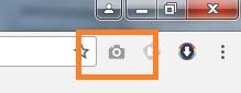 Bild som visar hur ikonen till tillägget Full Screend Capture ser ut som en kamera i webbläsaren Chrome.