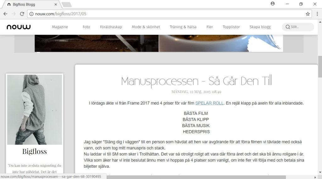 Bilden visar ett utsnitt av bloggen BiggFloss, vilket är ett exempel på en av flera bloggar som bevarats av Arkiv Sörmland.