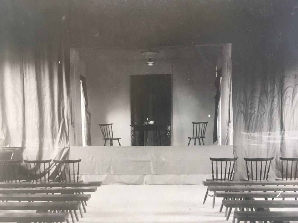 Interiör från Gnesta Folkets hus u å. Foto: okänd. Folkets hus Gnestas arkiv, Gnesta kommunarkiv.