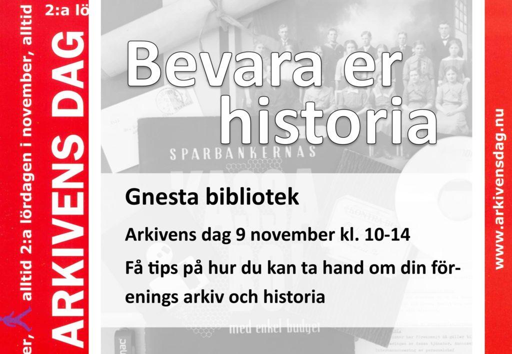Bild med arkivhandlingar och text om att bevara sin historia.