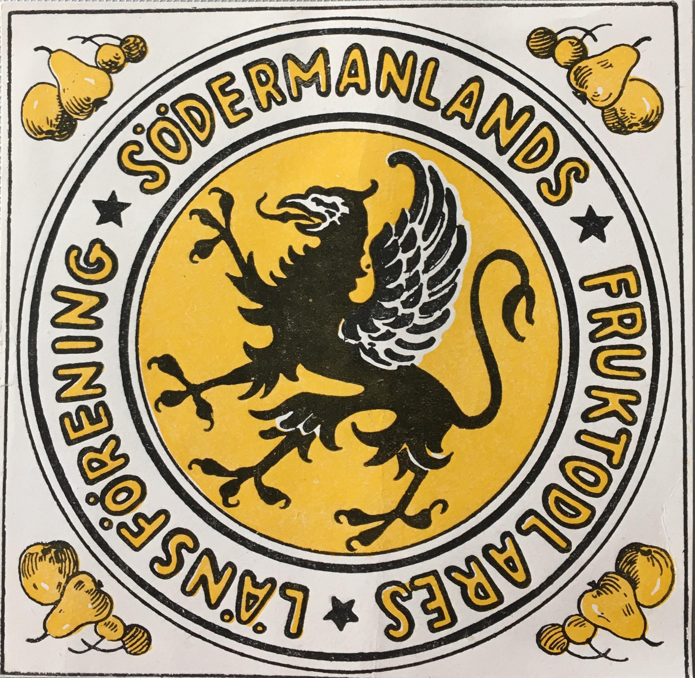 Länsföreningens logga från 1911. Södermanlands fruktodlares länsförenings arkiv, Arkiv Sörmland