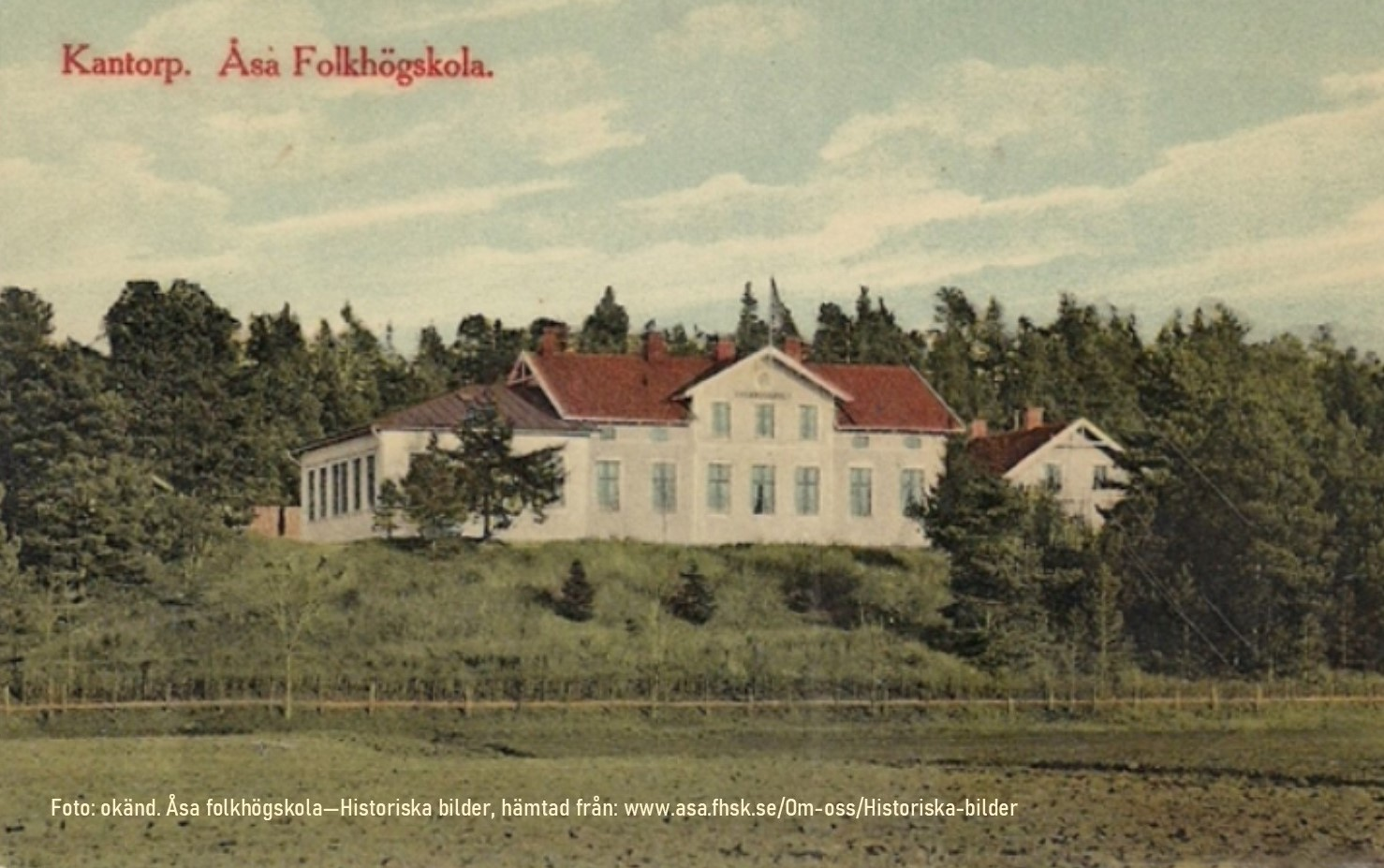 Äldre vykort från Åsa folkhögskola