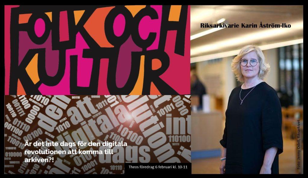 Folk & Kuturs logga med bild på riksarkivarien och programbilden till Ariv Sörmlands föredrag 6 februari