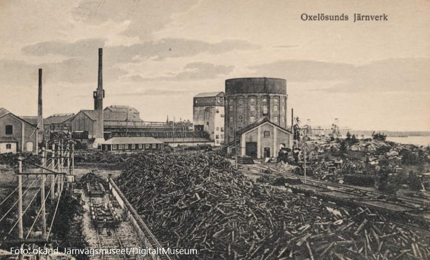 Oxelösunds järnverk ca 1920. Foto: okänd. Järnvägsmuseet - DigitaltMuseum