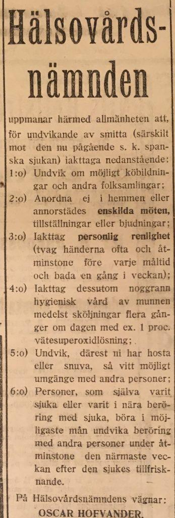 Info från hälsovårdsnämnden i Eskilstuna 5 okt 1918 SP
