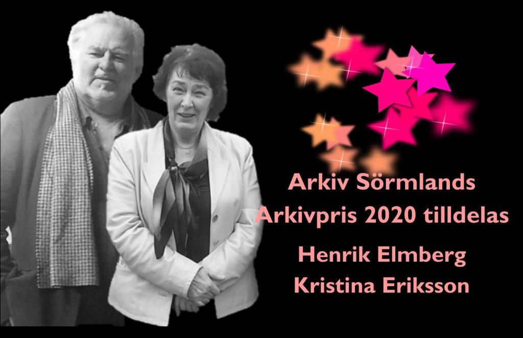 Henrik Elmberg och Kristina Eriksson arkivpristagare 2020