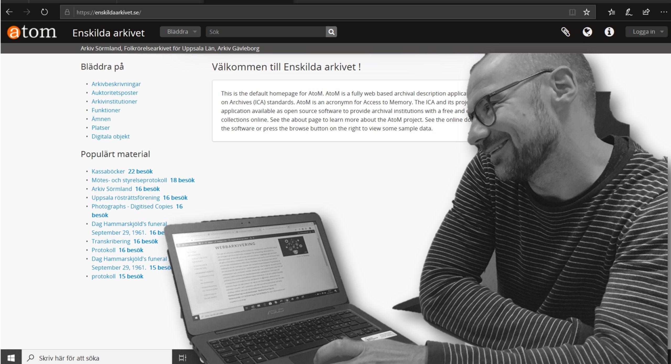 Theo Erbenius framför en bild från Enskild arkivet. Foto: H Karlsson