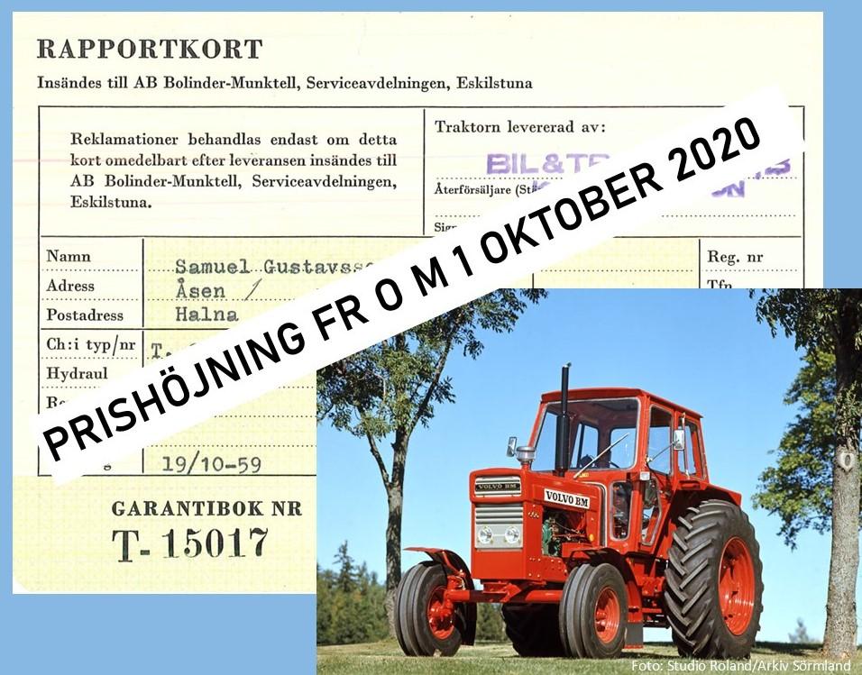 Om prishöjning på rapportkort med traktor