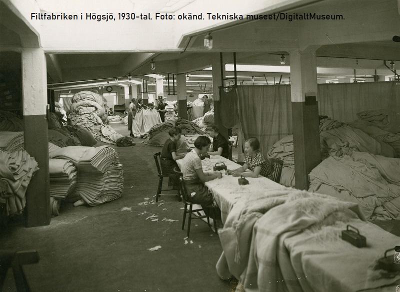 Filtfabriken i Högsjö. Foto okänd. Tekniska museet/ DigitaltMuseum
