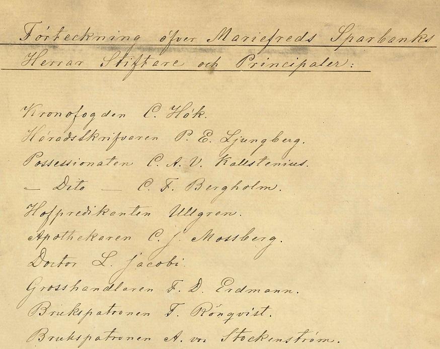 Instiftare av Mariefreds sparbank 1863. Sparbankens arkiv, Arkiv Sörmland