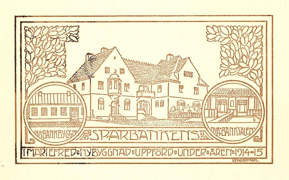 Sparbankshuset i Mariefred stod klart år 1915. Illustration: V Fagerström. Mariefreds sparbanks arkiv, Arkiv Sörmland